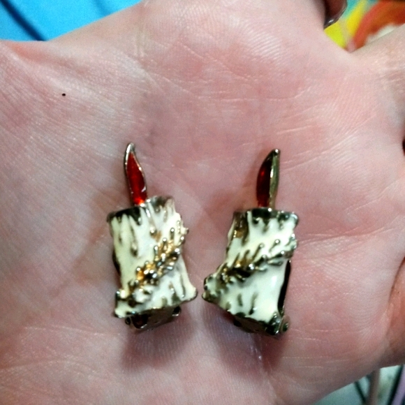 Christmas candles vintage clip-on clip on earrings